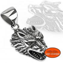 Pendentif collier Loup agressif unisexe moto custom accessoire biker