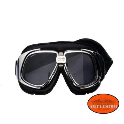 Lunettes Biker Chrome Moto custom et Trike  protection des yeux décoartion du casque moto custom harley