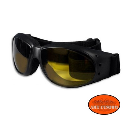 Goggles Motorcycle Black and yellow biker harley custom