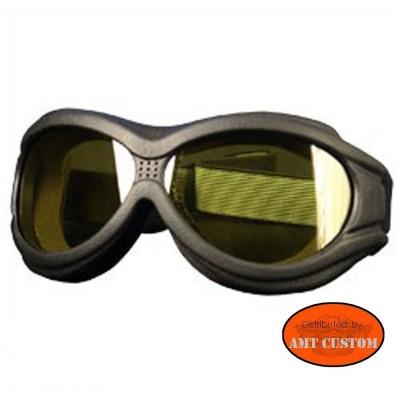 Lunettes masque Biker Moto custom et Trike - Verres Jaune  protection des yeux décoartion du casque moto custom harley