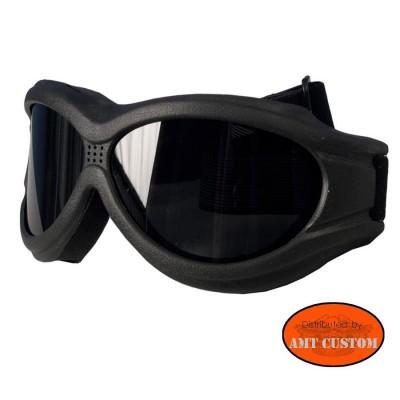 Lunettes masque Biker Moto custom et Trike - Verres fumés  protection des yeux décoartion du casque moto custom harley