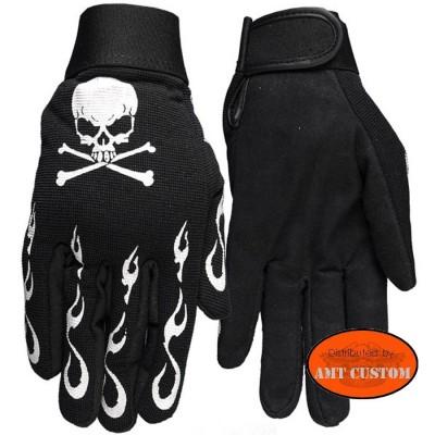 Gants Biker Tête de Mort Flammes motorcycles glove skull flaming Harley