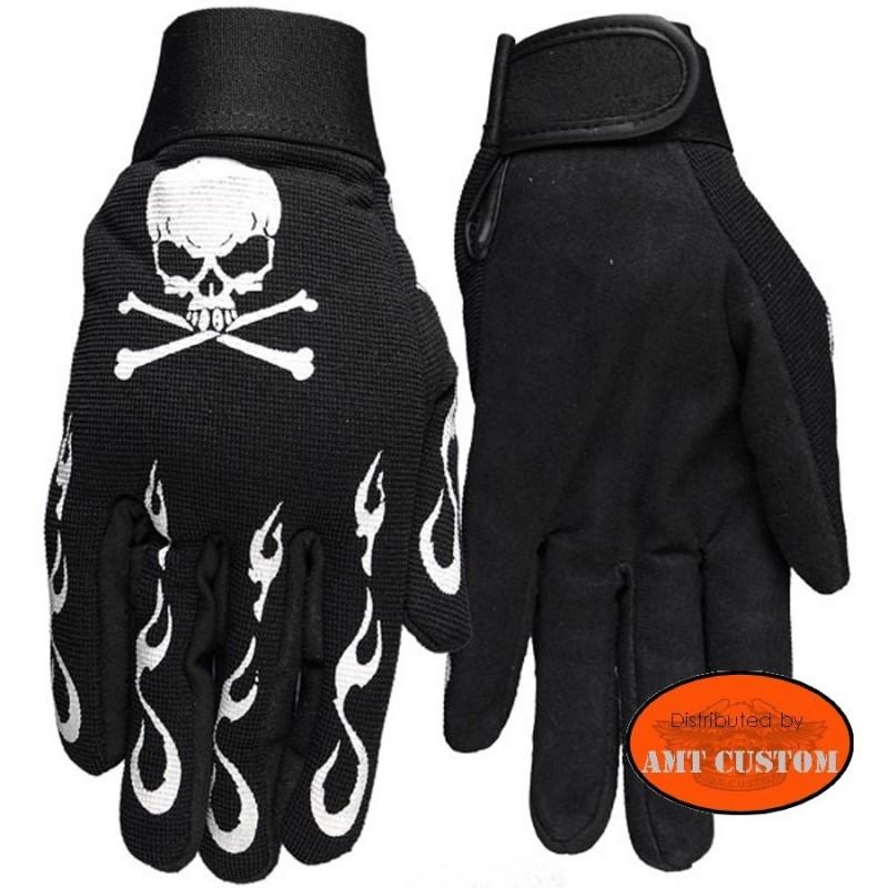 Skull flames biker gloves motorcycles