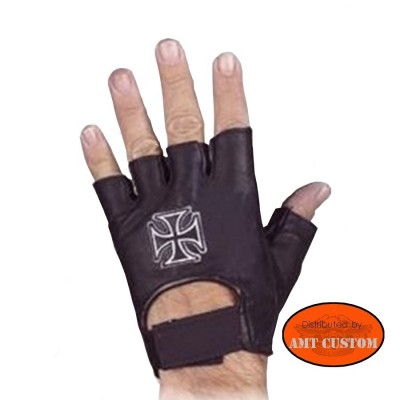 Iron Cross Leather fingerless gloves mittens H-D