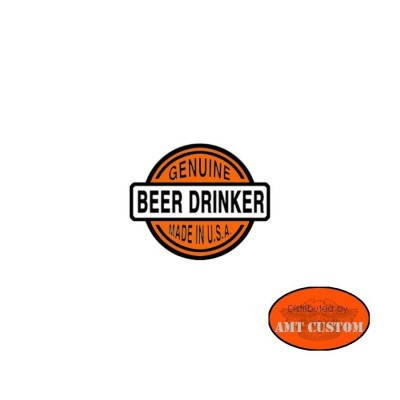 "Sticker casque moto ""Guenuine beer drinker""custom harley trike accessoire casque moto custom harley trike chopper et bobber"
