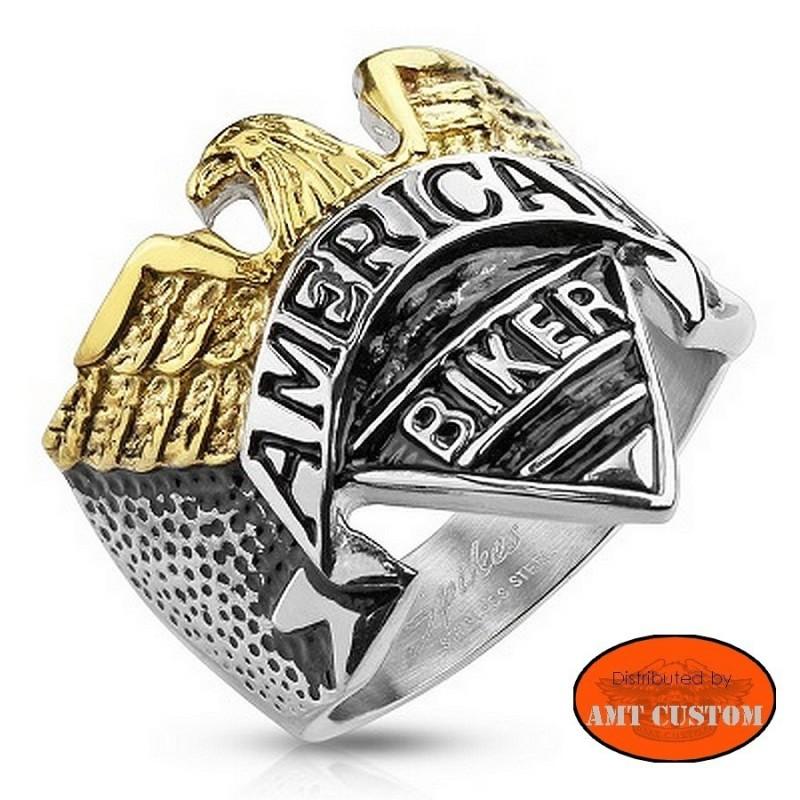 America biker Eagle ring stainless steel motorcycles custom harley