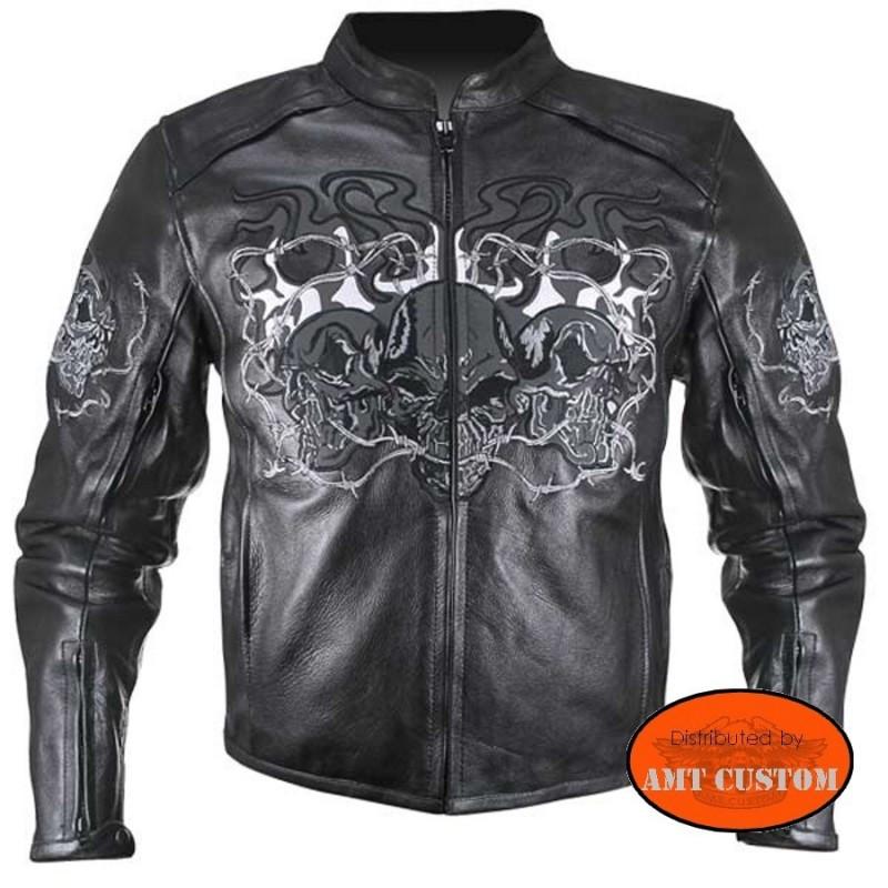 blouson biker moto cuir r tro r fl chissant t te de mort r fl chissant amt custom shop. Black Bedroom Furniture Sets. Home Design Ideas