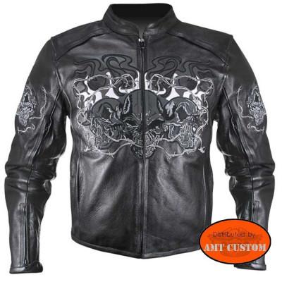 Blouson biker moto cuir rétro-réfléchissant Tête de mort réfléchissant.