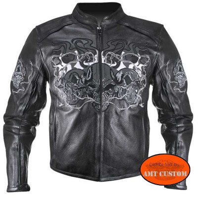 Leather Jacket Motorcycle Skull reflective