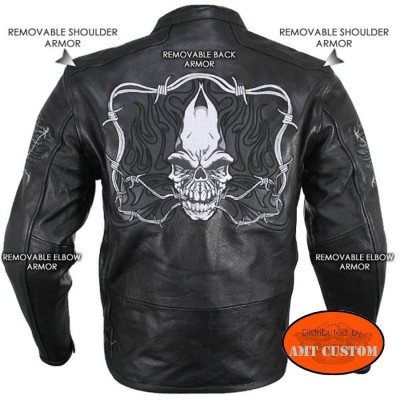 Leather Jacket Motorcycle Skull reflective