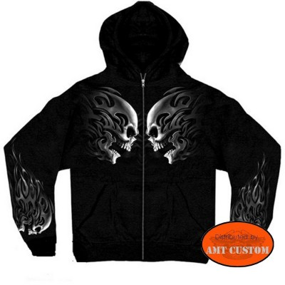 Sweatshirts hooded Jacket Biker Skull Heritage