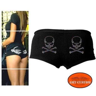 Ladies Biker Short Skull rhinestone