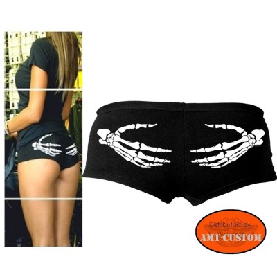 Ladies Biker Short Skeleton hand