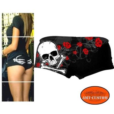 Shorty femme Biker Tête de Mort et fleurs