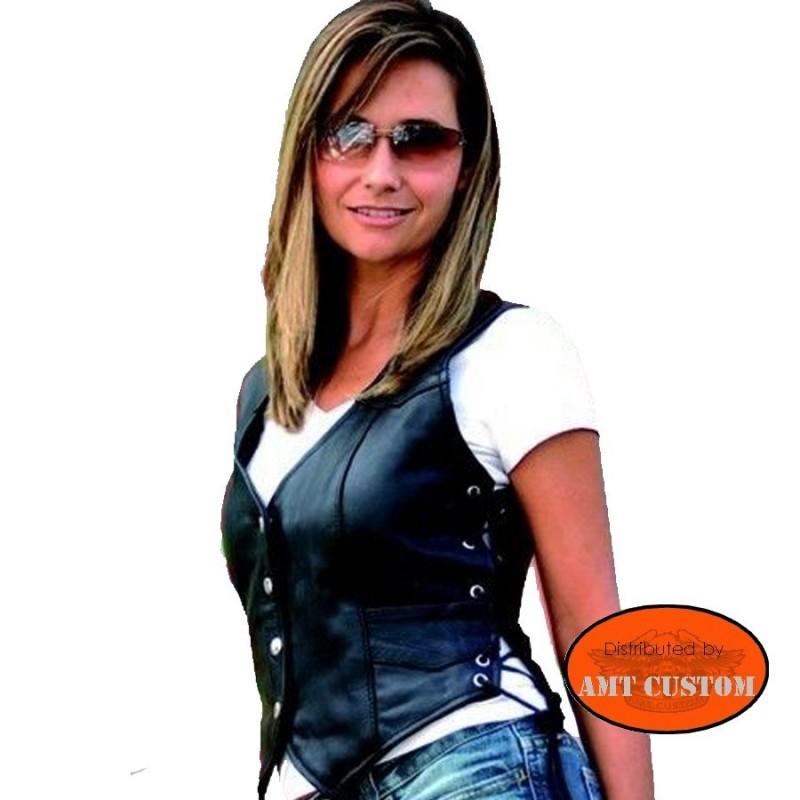 Gilet femme en cuir moto custom