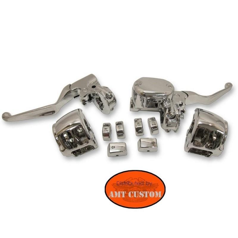 Sportster Kit commande guidon Chrome XL 883 Xl1200 de 2014 à aujourd'hui - Leviers + Commodo cocotte + switch + maitre cylindre