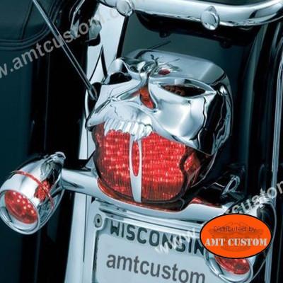 Cache phare arrière Tête de Mort Skull Zombie Chrome ou Noir -  Feux pour Harley