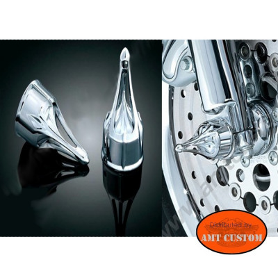 Set Spike Chrome Axle Covers chrome for Harley