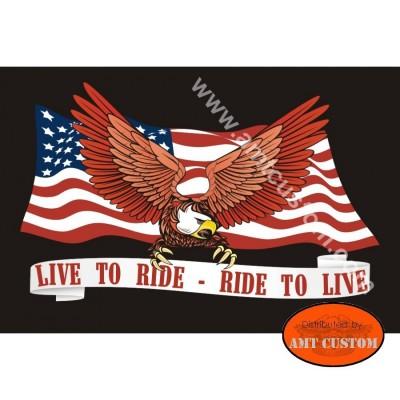 Flag pour motos custom Harley Drapeau Fanion Croix de malte t/ête de mort coutures renforc/ées Trikes ...