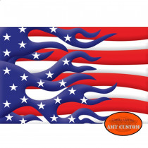 Drapeau fanion USA Flaming moto & trike LUXE