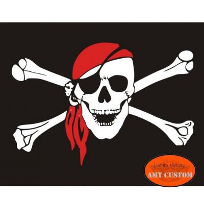 Drapeau fanion tête de mort pirate  moto trike LUXE