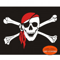 Skull pirate US flag pennant for motorcycle's mast