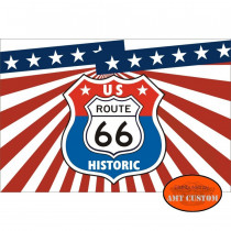 Drapeau fanion Route 66 US  moto trike LUXE
