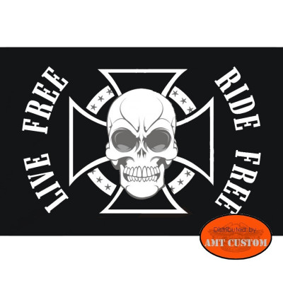 skull maltese cross flag pennant for motorcycle's mast