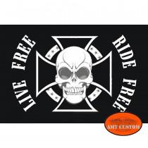 Drapeau fanion Croix de Malte skull moto trike LUXE