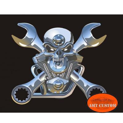 Drapeau fanion Skull Vtwin cles plates moto trike LUXE