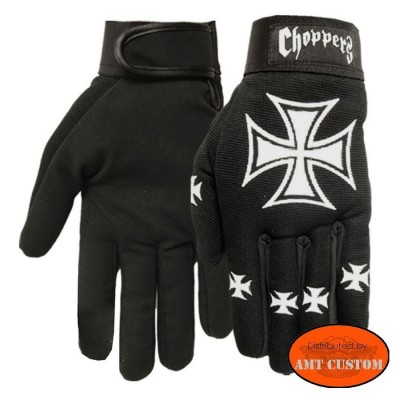 Gants Biker Croix de Malte Choppers Iron Cross moto custom trike