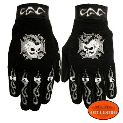 Biker Gloves Maltese Cross and Skull Hardcore motocycle custom trike