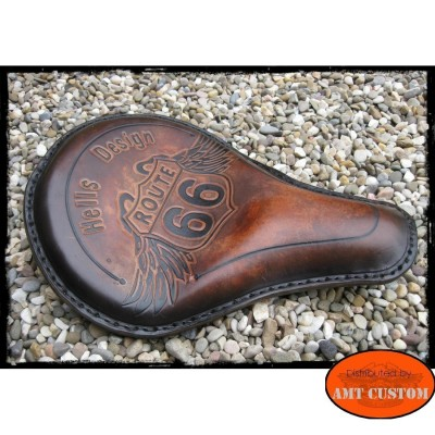 Shiny brown leather solo seat custom / chopper route 66 custom harley chopper  profil