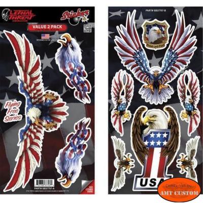 Planche de 10 Stickers Aigle ailes drapeau US