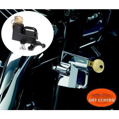 Cadenas anti-vol moto casques noir ou chrome cadre moto