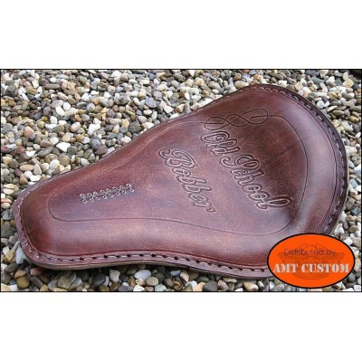Selle solo cuir Old School Bobber pour custom Harley Davidson, Choppers, Bobbers, ...