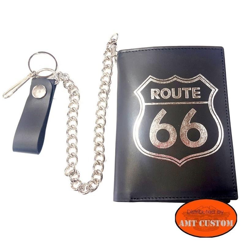 Portefeuille Biker cuir route 66 Format Europe
