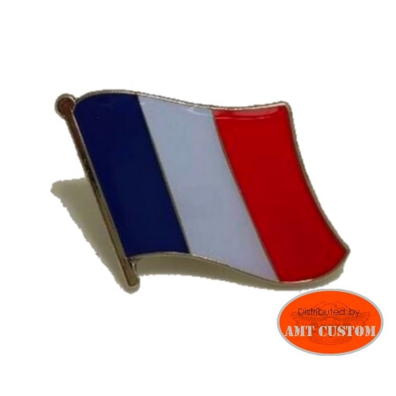 French flag pin's biker jacket vest