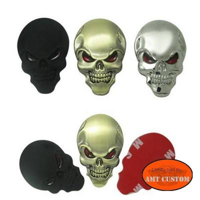Emblème tête de mort relief 3D.
