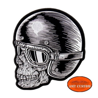 Skull helmet  patch biker jacket vest