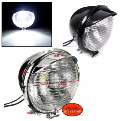 Phare LED additionnel avant Chrome ou noir moto custom