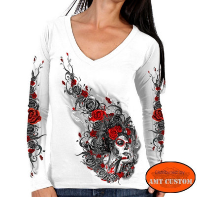 T-shirt manches longues Roses Muerta flowers