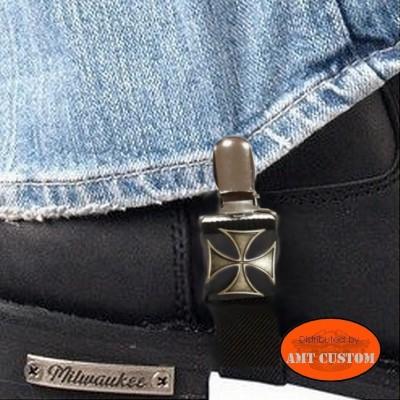 Paire de clips pantalon Croix de Malte biker