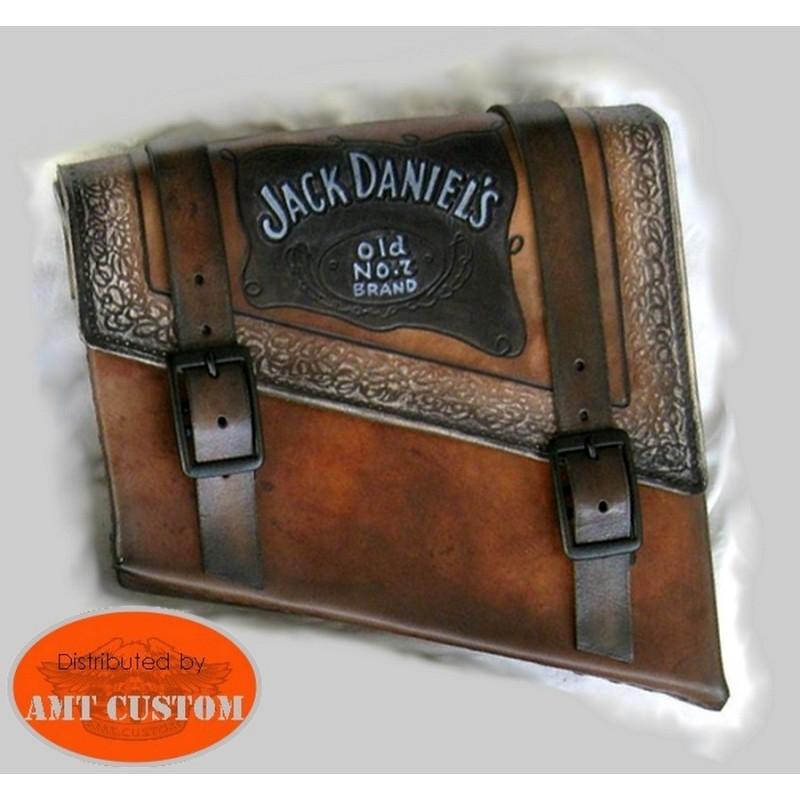 Sacoche latérale Solo cuir Jack Daniel's, Bobbers, Choppers, Harley Custom