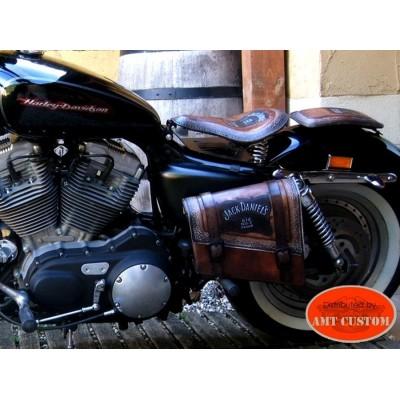 Sacoche latérale Solo cuir Jack Daniel's, Bobbers, Choppers, Harley moto Custom