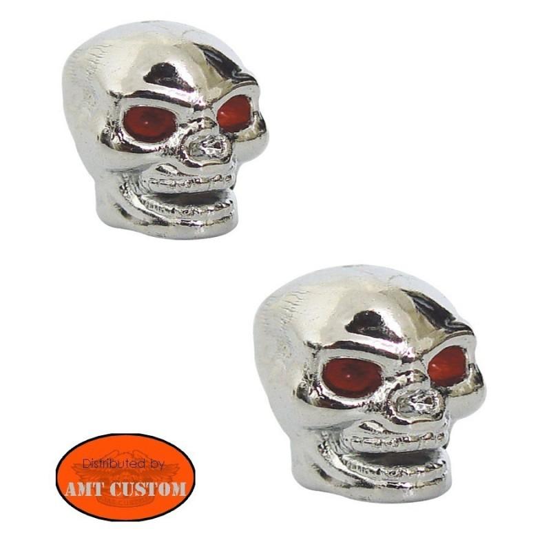 2 vis boulons / bouchons de valve skull chrome