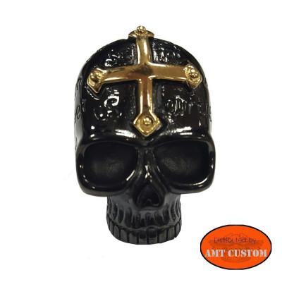 Bague skull noire croix dorée