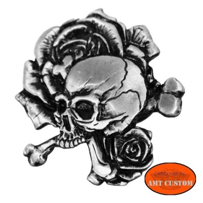 Pin's Biker Skull Bones Roses moto custom trike