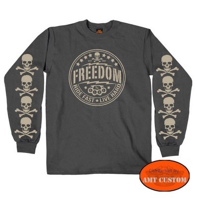 Polo sweat Tête de mort Freedom moto custom trike Skull