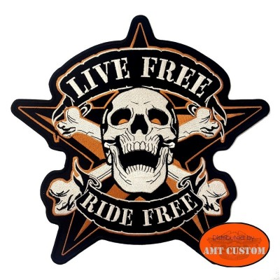 Star Skull Ride Free Patch Biker jacket vest